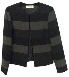 Tahari Bold Stripe Jacket Grey and Black Blazer