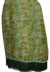Express Vintage Silk Skirt Green Paisley print