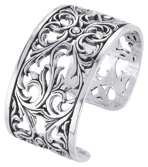 """Other Vintage Inspired """"Guinevere"""" Sterling Silver Filigree Cuff Bracelet by BrianG"""