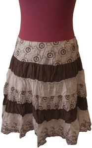 Joe Benbasset Striped Floral Skirt Brown and White
