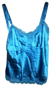 Karen Kane Vintage Silk Lace Trim Top Ocean Blue