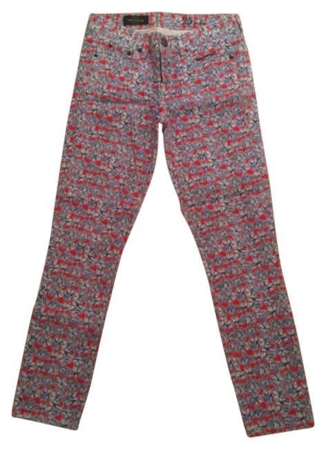 Item - Red Blue and White Toothpick Straight Leg Jeans Size 25 (2, XS)