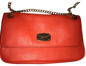 Michael Kors Mk Leather Gold Chain Red Clutch