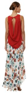 Haute Hippie 100%silk Cut -out Cowl Back Boat Neck Top Red Cerise