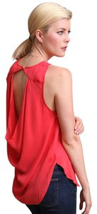 Haute Hippie 100%silk Cut -out Cowl Back Boat Neck Top Red Coral Grapefruit