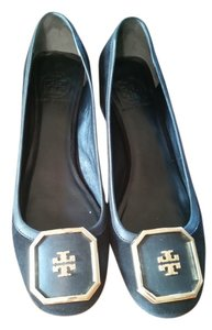 Tory Burch Suede Patent Gold Hardware Stacked Heel Black Pumps