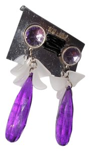 Drop Dangle Purple and White Clipons, Mother's Day Gift Earclips