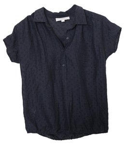 Ann Taylor LOFT Collar Buttons Gathered Hem Top Midnight Blue