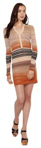 Haute Hippie short dress Rust Multi Knit Striped Removable Belt Longsleeve on Tradesy