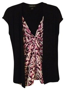 August Silk Top Black / Purple Multi