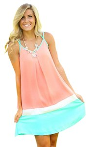 short dress pink,coral,mint green, white Beach Spring on Tradesy