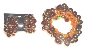 Stretch Bead Bracelet With Matching Clipon Earbobs