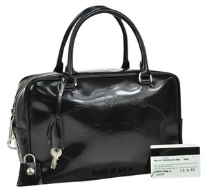 Prada Patent Leather Satchel in Caviar Black