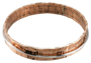 Handmade Handcrafted Designer Hammered Copper Concave Bangle Bracelet with Sterling Silver Moveable Ring by BrianG @ BrianGdesigns