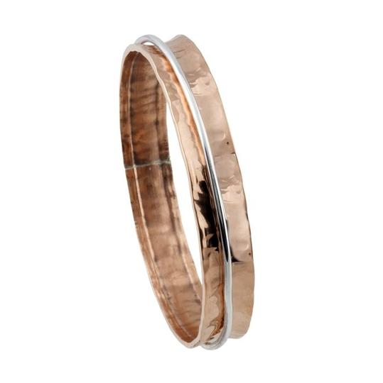 Other Handmade Handcrafted Designer Hammered Copper Concave Bangle Bracelet with Sterling Silver Moveable Ring by BrianG @ BrianGdesigns