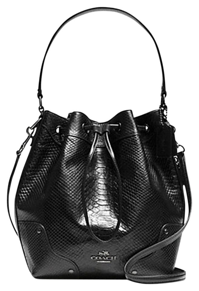 f50d494c98f9c2 Coach Mickie Drawstring In Exotic F35928) Black Snake Embossed ...