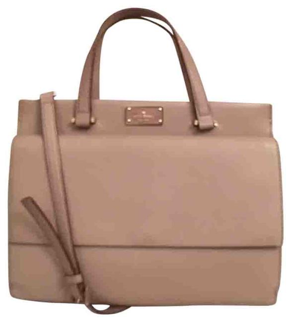 Kate Spade New Carena Beige Black Leather Satchel Kate Spade New Carena Beige Black Leather Satchel Image 1