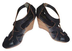 Cole Haan Brown Caged Wedges Black Mules