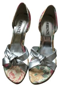 Firenze Silver Pump Silver, Multi Floral Orange, Hot Pink Sandals