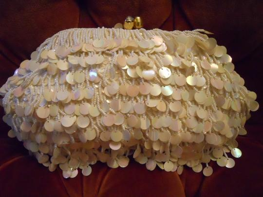 Other Evening Beaded Fringe white Clutch