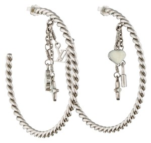 Louis Vuitton Silver-tone Louis Vuitton Sweet Monogram cable hoop earrings New