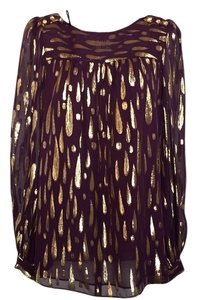 MILLY Top Eggplant, gold