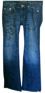 DKNY Stitching Boot Cut Jeans-Medium Wash