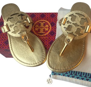 Tory Burch Miller Metallic Gold Sandals