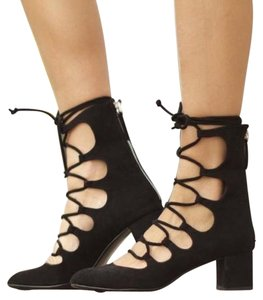 Zara Heels Lace Up 6.5 Black Pumps