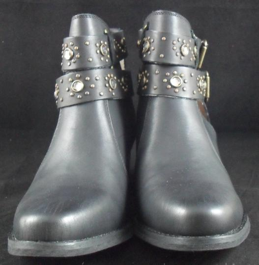 Betsey Johnson Willow Leather 7.5 7.5 Size 7.5 New Rhinestone Black Boots