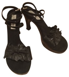Steve Madden Leather Suede Bow Black Sandals