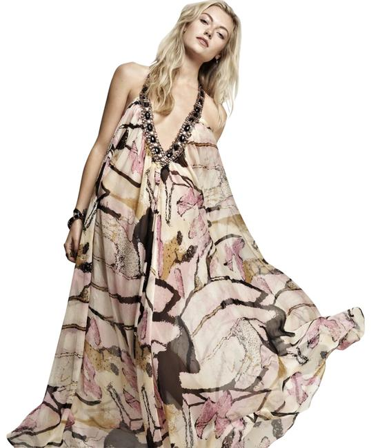 Item - Cream Pink Black Ell & Cee Embellished Halter Sheer Long Casual Maxi Dress Size OS (one size)