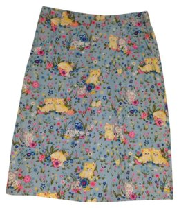 Sugar Vintage Retro Cute Kitten Animal Print Spring Skirt Blue