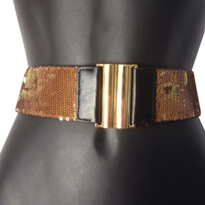 BCBGMAXAZRIA Bcbg sequin bronze gold stretch back belt XS