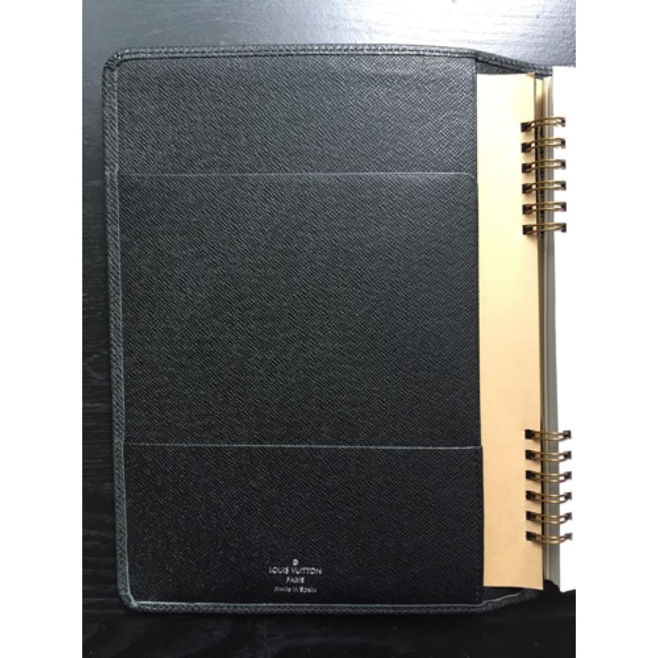9432231657b1 Louis Vuitton Taiga Leather Black Grey Charcoal Desk Agenda Cover ...