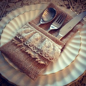 Qty: 6 Burlap Silverware Holders