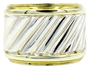 David Yurman Cable Classics Cigar Band Ring in 14k Yellow Gold and 925 Sterling Silver Size 4 with Original Pouch