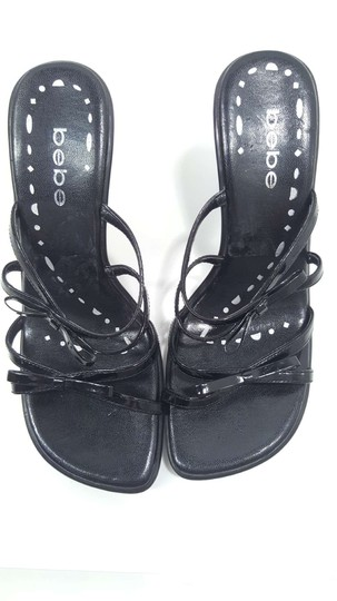bebe Patent Leather Bow Strappy Sandal Size 8 Black Wedges