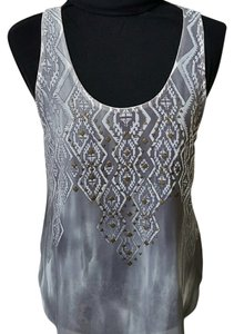 Lush Chiffon Tribal Print Studded Top Grey