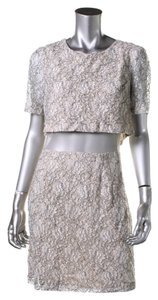 A.B.S. by Allen Schwartz ABS BY ALLEN SCHWARTZ Gray Lace Mesh Inset Clubwear Dress 8