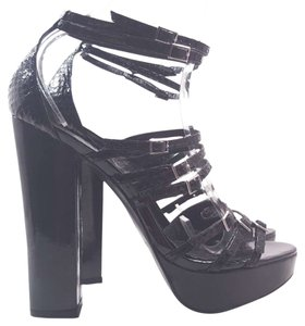 bebe Dixie Leather Platform Black Sandals