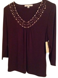 Debbie Morgan Beaded Top Deep Brown