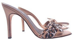 bebe Entertaining Rhinestone Natural/ Leopard Sandals