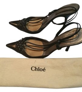 Chlo Chloe Low Vamp Toe Cleavage Black Leather Pumps