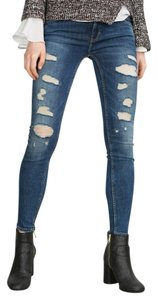 230136c1dd7 Zara Blue Distressed New Tags Power Stretch Ripped Hole Trousers 6 Skinny  Jeans