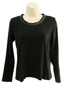 Talbots Petite Long Sleeve Shirt Beaded Embellished Neckline Top Navy