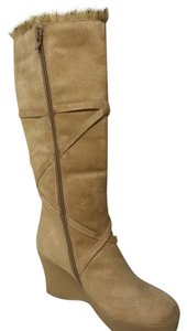 Groove Suede Wedge Boot Winter Tall Tan Boots