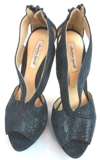 Charles David Animal Print Suede Leather Open Toe Heels BLACK Platforms