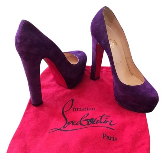 Christian Louboutin Platform Sky High Suede Leather Round Toe Cocktail Holiday Purple Pumps