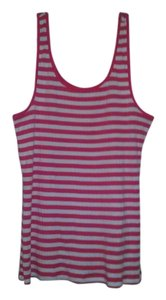 Old Navy Striped White Fitted Cotton Top Pink